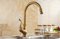 Antique Brass Swivel Spout Kitchen Faucet Single Handle Vessel Sink Mixer Tap  Kitchen taps/cozinha/faucet y-213