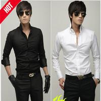 men's shirts large sized Business Casual Dress shirt  Cotton Long-Sleeve Slim Fit  camisa masculina