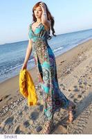 New vestido longo Dress Women Summer Casual Fashion Vintage Print Holiday Beach boho Maxi Dress femininos garment