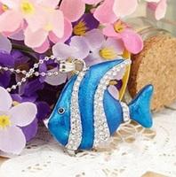 New arrive Jewelry Blue crystal fish model 4GB 8GB 16GB 32GB USB Flash memory thumb pen drives memory stick gift Freeshipping