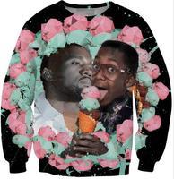 2014 new celebrity 3d print Kanye west & Urkel's Ice Cream & Heartbreak Crewneck Sweatshirt tops pullovers for men boys unisex
