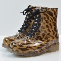 Martin fashion leopard rain boots, transparent jelly student waterproof shoes, women's boots grass