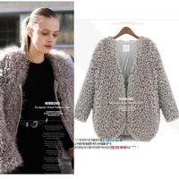 2015 Winter Long Plush Coat Women European brand Fur V Neck Black Desigual Autumn Outwear Fur Coat Casual Femininas Fur Jacket