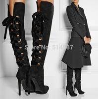 Large Size 10 Designer Black Suede Over The Knee Boots Back Tie Platform Boots For Women High Heels Celebrity Shoes
