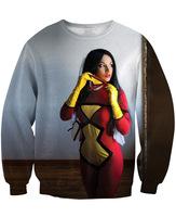 2014 new fashion street fashion 3d printed spiderwoman creative funny sweatshirt hoodies fall autumn for woman female