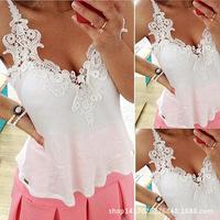 White lace blouses Women's 2015 women lady sweaters patchwork shirts Sexy Chiffon Blouse Spaghetti Strap Vest Tops Blouses XXXL