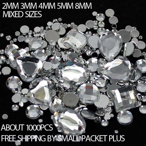 Mixed Sizes 1000pcs many Colors Round Acrylic Loose Flatback Rhinestone Nail Art Crystal Stones For Wedding Clothing Decorations(China (Mainland))