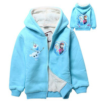 Girl's Frozen Winter Coat Long Sleeve Warm Thick Hooded Down Coat Olaf Elsa Anna Parkas Outerwear Coat Winter New Year Costumes