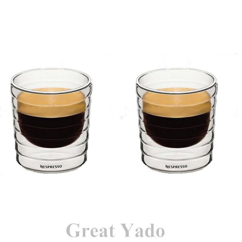 Set Of 2 Pcs Double Wall Nestle Nespresso Glass Coffee Cups Mugs