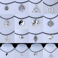 2015 Fashion 12 Styles Tibetan Silver Pendant Choker Necklace Black Leather Cord Women Necklace