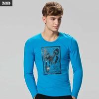 Zod male underwear long-sleeve basic shirt long t-shirt 100% cotton print t-shirt 100% cotton o-neck basic shirt slim male