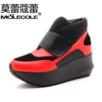 2014 winter high-top shoes color block decoration women's platform shoes wedges shoes ak29