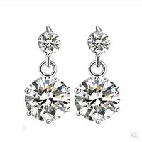 Flower Zirconia Earrings for Women Bridal Wedding Girls Party Jewelry Fashion Trendy White Crystal Rhinestone Silver Studs Y044P