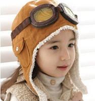Free-Shipping!Winter-baby-earflap-Pilot-cap-children-hats-boys-flight-caps