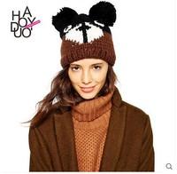 2015 spring and summer playful cartoon teddy bear fur ball decorated ears warm wool cap brand new design fashion women lady