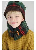 The new 2014 British plaid children warm winter horn collar