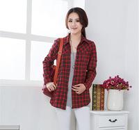2015 New Fashion Womens Tops Casual Blouse Turndown Collar Long Sleeve Plaids Print Pattern Shirt Free shipping