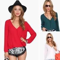 Free Shipping 2014 autumn and winter women blouse shirt long-sleeved V-neck shirt chiffon shirt B-2076