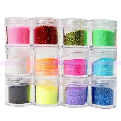 12 Jars Metal Shiny Glitter Acrylic Powder Dust Nail Art UV Gel DIY Decor Kits(China (Mainland))
