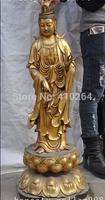 """[wholesale_jewelry_wig ] free shipping 34""""tibet buddhism brass Stand lotus Kwan-Yin Guan Yin Bodhisattva buddha statue"""