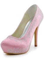 Big Sale Free Shipping  EP2025C-IP US8/EU39 Pink High Heel  Round Toe Stiletto Platform Rhinestone Satin Wedding Bridal Shoes