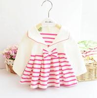 2015 New Free Shipping Spring Children Long Sleeve Stripe Splice Dress Baby Turn-down Collar Skirt Lovely Cotton Baby Girl Dress