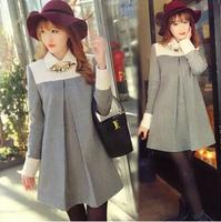 2014 Winter New woolen blend Pregnant color block Loose casual dress vestidos plus size