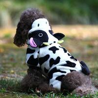 Dog Hoodie Jumpsuit Fleece Cow Ear Warm Coat Teddy Winter Costume Cloth Apparel Free Shipping