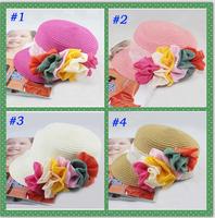 New Coming Baby Flower Cap Children Baseball Hat Girls Flatcap Kids Summer Straw Hat Sun Cap Girls Flower Fashion Cap