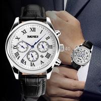 Free shipping 2015 fashion casual Man Steel waterproof watch Quartz Wristwatches 6 Style---mnh