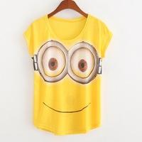 2015 Summer New Fashion Women Loose Batwing Sleeve Women's Tees T-shirt Smiling Face Print Cartoon Tops Tshirt Roupas Femininas