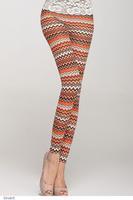 Fashion Women pants adventure time Fitness Sexy slim Orange Zig-Zag Print  Leggings punk LC79231 Free Shipping