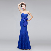 2015 New Arrival Sexy Mermaid Lace Evening Dress Bride Sweetheart Blue Plus Size Bandage Party Dress Custom Formal Dress