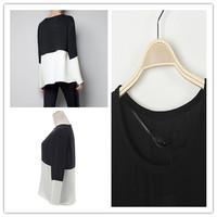 2015 New Women Femininas O Neck Long Sleeve T-shirt Patch Color Block Chiffon Splicing Tops T Shirt