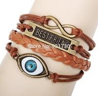 2015 Fashion Jewelry Multi-layer Braided Leather Bracelet Cord Best Friend Evil Eye Charm Bracelet Free Shipping