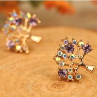 Fashion Women Rhinestone Pierced Hollow Christmas Tree Earrings Ear Stud V3NF