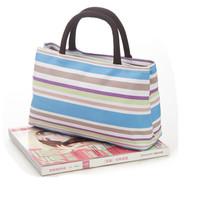 Double handle handbag stripe tote bag double layer women's casual handbag canvas bag lunch box bag lunch bag