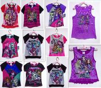New Arrivel Kids Cartoon Monster High Top Girls Shirt Casual Short Sleeve Child Summer t shirt Top Quality