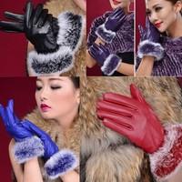 Fashion Women's Leather Winter Warm Soft Rabbit Fur Leather Gloves New
