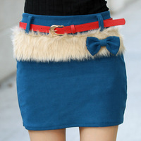 New Arrival Winter Women Skirt Sashes Faux Fur Bow Short Skirts KB436