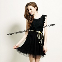 2015 Fashion Ladies Wrist Line Chiffon Material Dress Short Sexy Black Girl  Casual Dress Crazy Seller Lace Dress For Women
