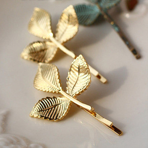 1 Pieces Elegant Europe and America Vintage Side Clip Leaves Hairpins Hair Jewelry Wholesale Accessories For Women 2015 Hot PD27(China (Mainland))