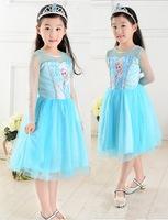 new 2015 Custom-made Movie Cosplay dress summer girls dress Costume Princess Elsa Dress from Frozen for Children