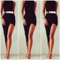 New Style Women Black Elegant Assymetrical Sleeveless O-Neck Sexy Slim Bandage Party Dresses Bodybon Nightclub Vestidos Dresses
