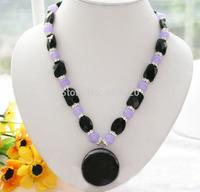 "Charming 19"" 35mm square black agate violet round jade necklace"