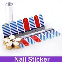 Anchor and Stripes Nautical Nail Art Vinyl Decal Sticker Nail Wraps UV Gel Sticker
