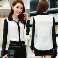 Spring 2015 new Korean temperament Slim thin chiffon shirt collar shirt fashion wild female long-sleeved shirt WL2217