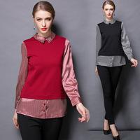 M-3XL Brand 2015 Spring Women Europe Plus Size XXXL Long Sleeve Patchwork Strip Pointed Collar Cuffed Women Shirt Camisas