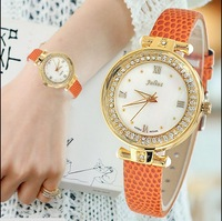 Woman Watches 2014 Fashion Luxury Wristwatches JULIUS Shell Dial Round Casual Quartz Watch Leather Strap Clock Time 746