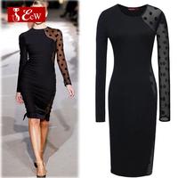 ECW New Arrivals Novelty Dress 2015 Fashion Splice Women Dress Hollow Net Sleeve Bandage Dress party Dress